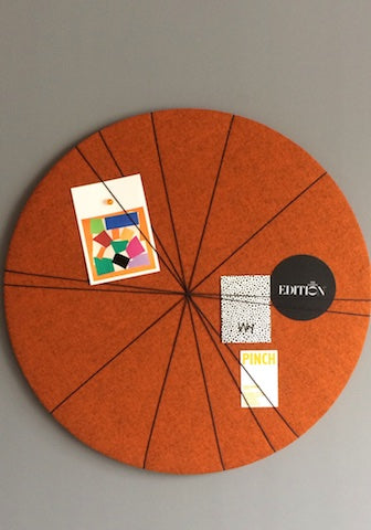 Kiki Voltaire Contemporary Notice Board in Orange Wool Felt