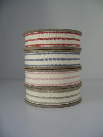 Stripes ribbons: red, blue, pink, beige