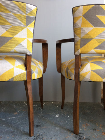 Vintage Bridge Chairs in Tamasyn Gambell Linen Fabric