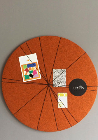Contemporary Felt Notice Board in Orange Wool Fabric
