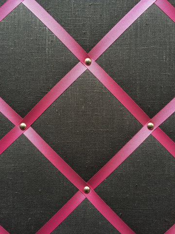 Notice board in Charcoal linen with shocking pink ribbon