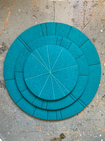 Range of Wool Felt Contemporary Pin Boards by Kiki Voltaire (75, 55, 40cm diameter)