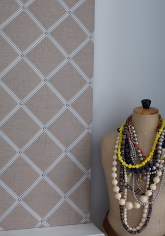 Large Linen Notice Board in French Linen with Cream/Grey Stripes