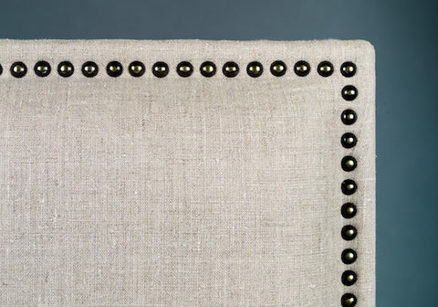 Linen Headboard with decorative nails