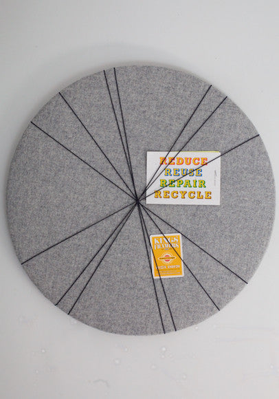 Contemporary Round Notice Board in Grey wool