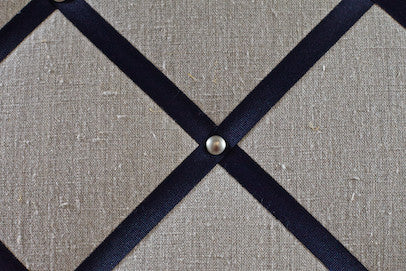 Linen Notice Board with Navy Ribbon