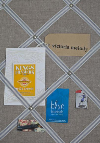 Fabric Notice Board | Natural Linen | Stripey Ribbon