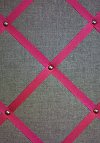 Large Linen Notice Board in French Linen with Shocking Pink Ribbon