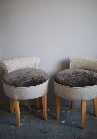 Pair of vintage small chairs coverd in wool and sheepskin upholsted by Kiki Voltaire