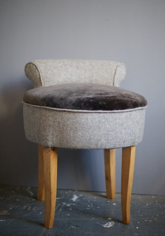 Vintage small chairs (a pair) coverd in wool and sheepskin upholsted by Kiki Voltaire