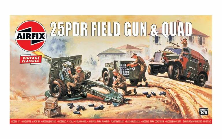 Airfix 1:76 25PDR Field Gun and Quad