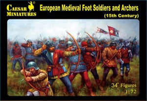 Caesar Miniatures CMH088 European Medieval Foot Soldiers & Archers (15th Century)