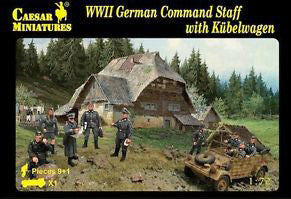 Caesar Miniatures CMH095 WWII German Command Staff with Kubelwagen