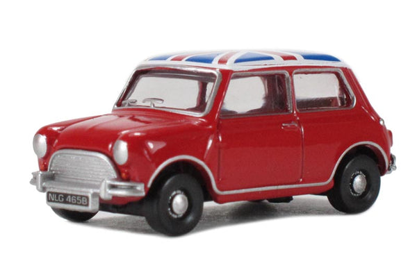 Oxford Diecast Tartan Red/Union Jack Austin Mini - 76MN001