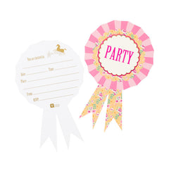 rosette party invitations with a horsey theme