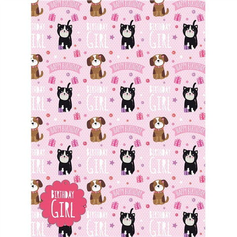 Cute Puppy and Kitten Gift Wrap - Birthday Girl
