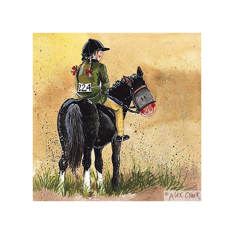 Alex Clark Blank Horse Card - Red Ribbons