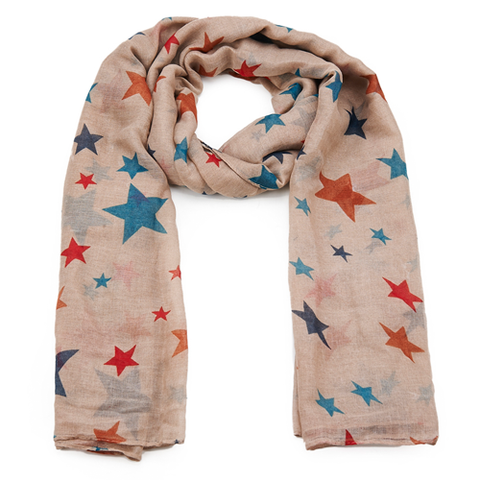 Beige with Stars Racing Scarf