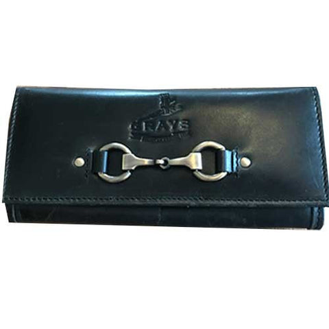 Black Leather and Suede Horse Snaffle Bit Purse