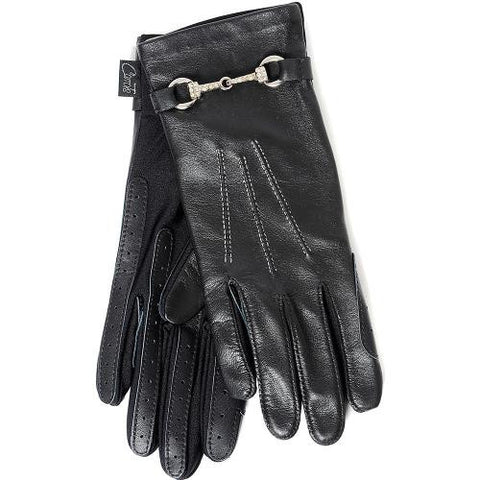 Carrots Black Leather Sparkly Snaffle Riding Gloves