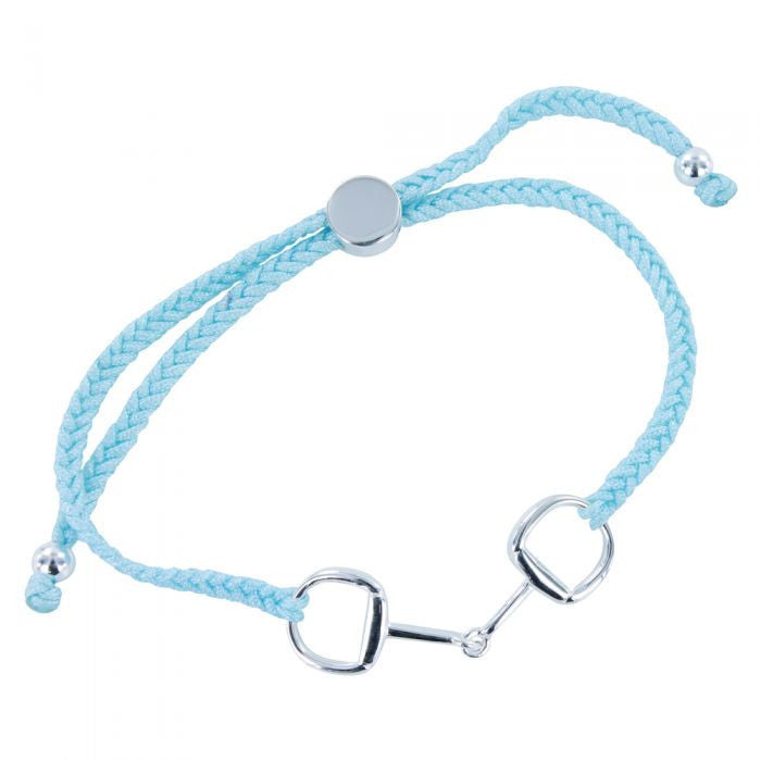 Silver Snaffle Baby Blue Friendship Bracelet - All Horsey Gifts