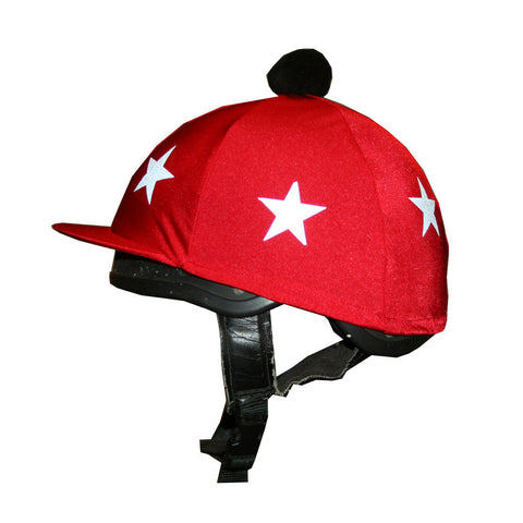 Capz Red Horse XC Riding Hat Cover with Reflective Stars