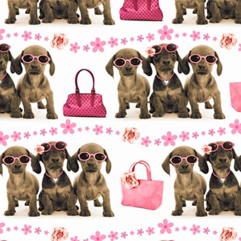 Pink Dog Gift Wrap - Here comes the girls