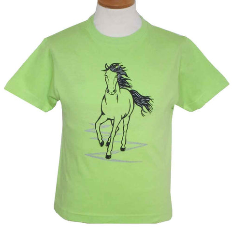 Lime Green Child's Printed Horse T-Shirt