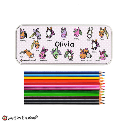 Personalised Pony Pencil Tin and Pencils