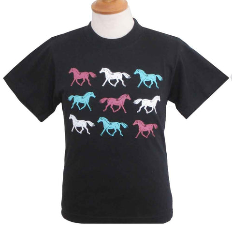 Child's Printed Horses T-Shirt in Navy