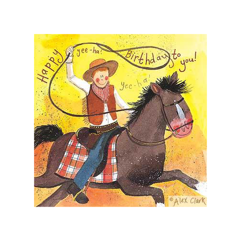 Alex Clark Birthday Card - Cowboy & Horse