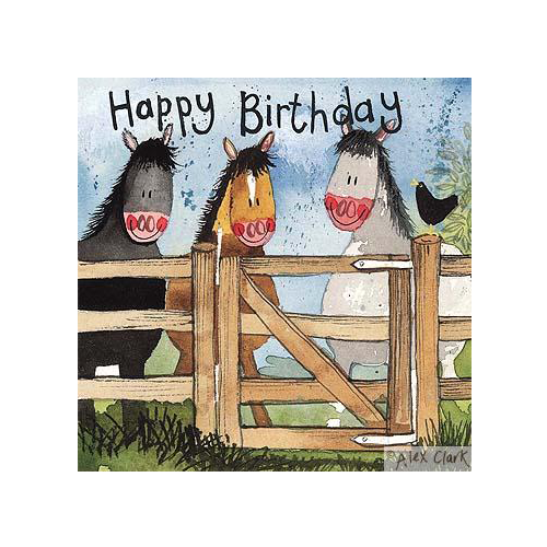 Alex Clark Birthday Card - Horses By The Gate - All Horsey Gifts