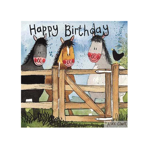 Alex Clark Birthday Card - Horses By The Gate