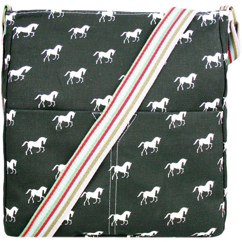 Horse Canvas Shoulder Bag in Black