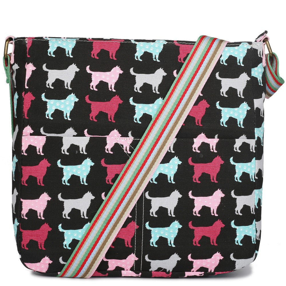 Dog Canvas Shoulder Bag in Navy
