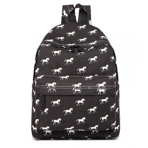Horse Canvas Rucksack in Black
