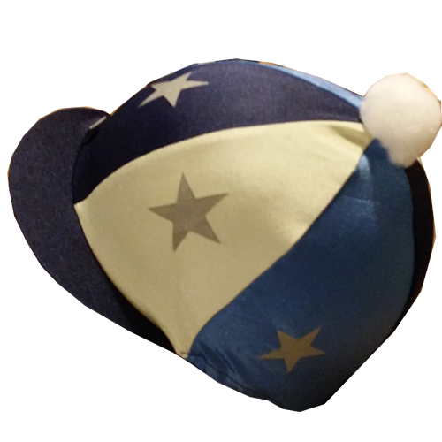 Capz Navy, Cream and Blue Riding Hat Cover with Stars - All Horsey Gifts