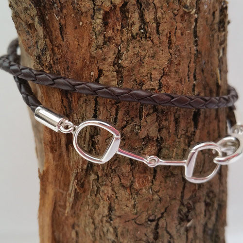 Silver Snaffle Bit Leather Horse Bracelet - All Horsey Gifts