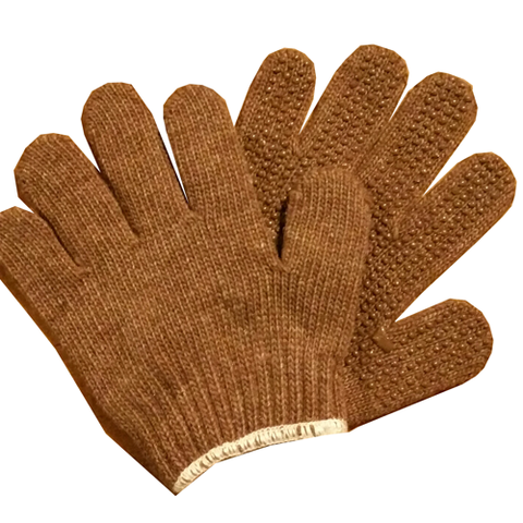 Brown Kids Pimple Riding Gloves