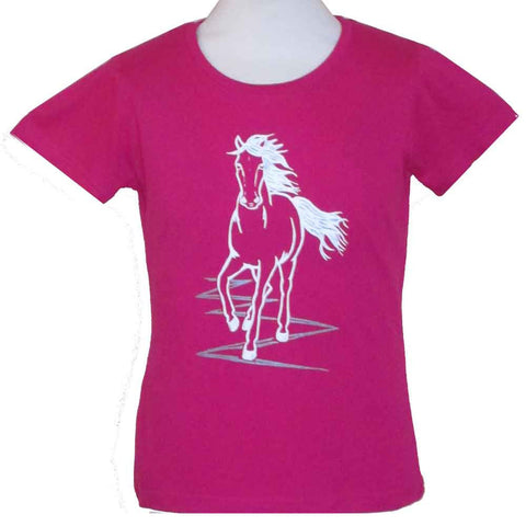 Child's Printed Horse T-Shirt in Fuchsia Pink