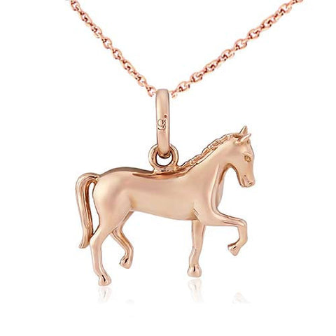 Gemma J Rose Gold Dressage Horse Necklace