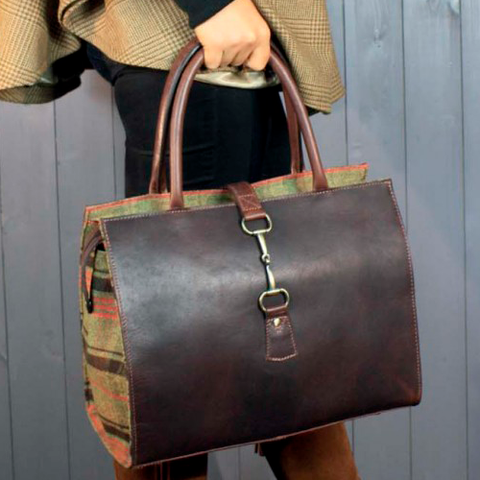Leather and Hunter Tweed Snaffle Bit Ladies Bag