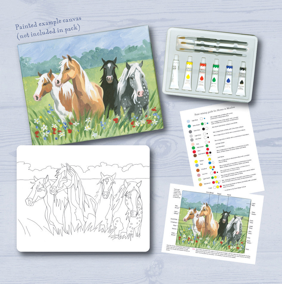 Paint your own Horses in the Meadow Canvas