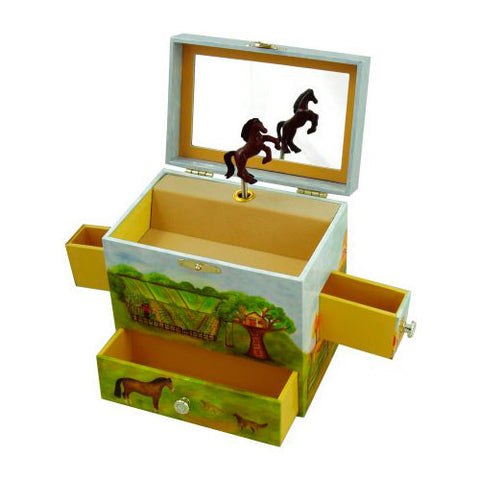 Horse Ranch Musical Jewellery Box - All Horsey Gifts