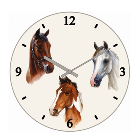 Lovely Horses Glass Clock