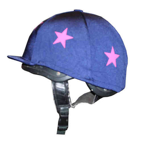 Navy Horse Hat Cover with Pink Stars