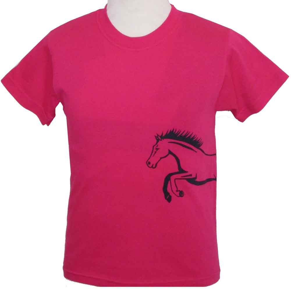 Child's Printed Horse T-Shirt in Fuchsia Pink - All Horsey Gifts