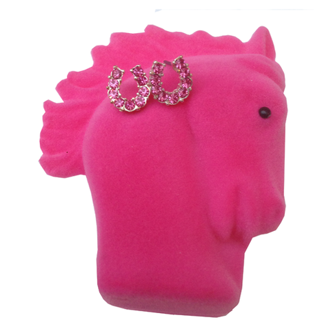 Pink Sparkly Horse Shoe Earrings in Horse Head Box