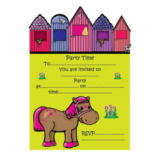 Cute Pony Party Invitations x 8 - All Horsey Gifts