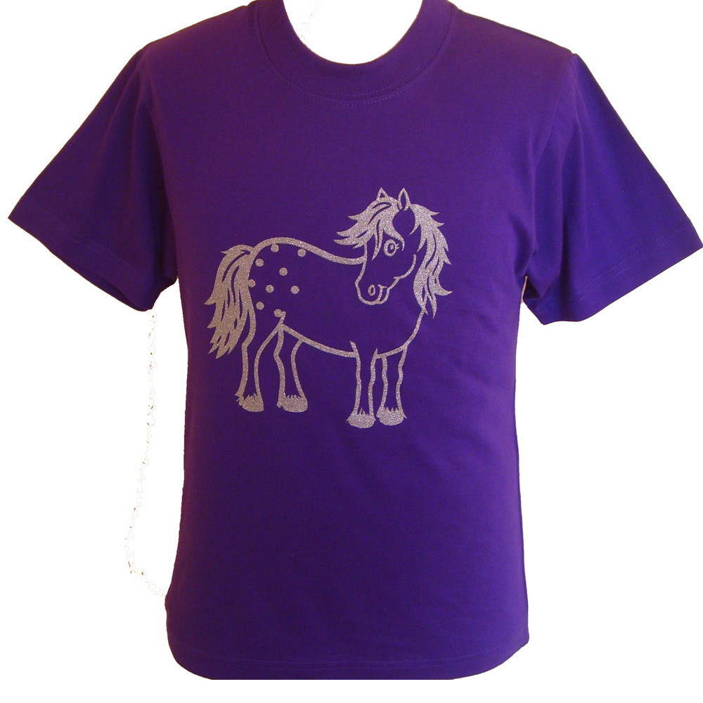 Child's Printed Purple Pony T-Shirt - All Horsey Gifts